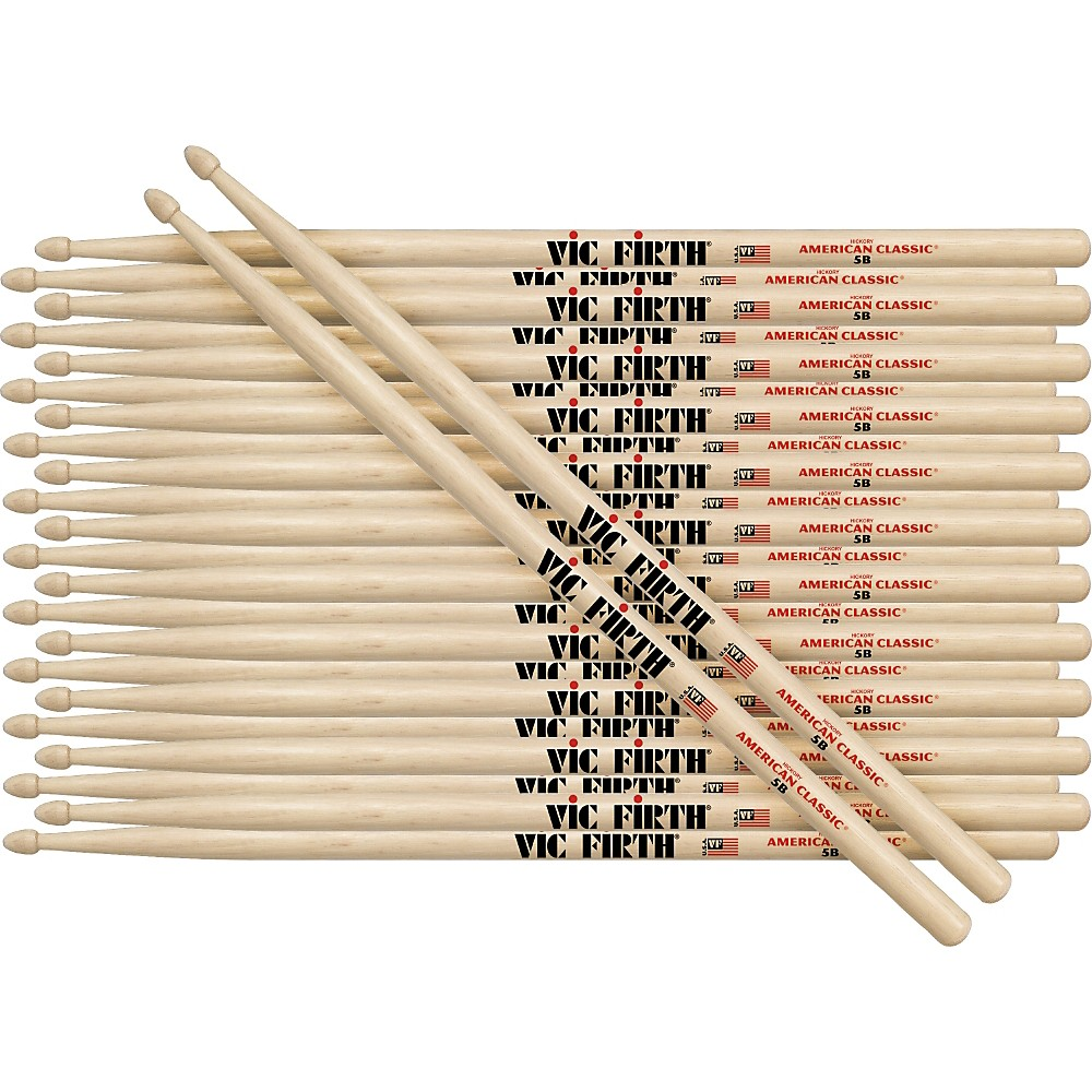 Vic Firth 12-Pair American Classic Hickory Drumsticks Wood 5B by Vic Firth
