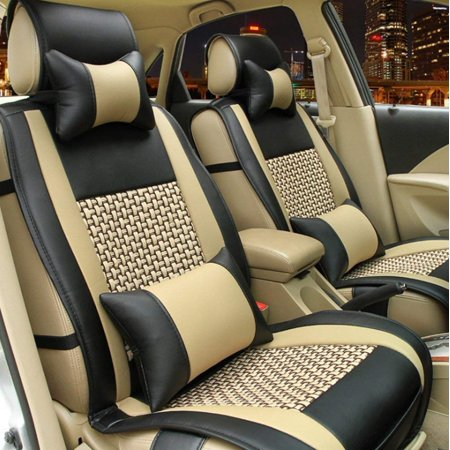 E-cowlboy Full Set 10pcs Needlework Pu Leather Front Rear Car Seat Cushion Cover for 5 Seats Vehicle Suitable for Year Round Use