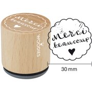 """Woodies Mounted Rubber Stamp 1.35""""-Merci Beaucoup"""