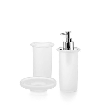 saon bathroom accessory set in frosted glass. Black Bedroom Furniture Sets. Home Design Ideas