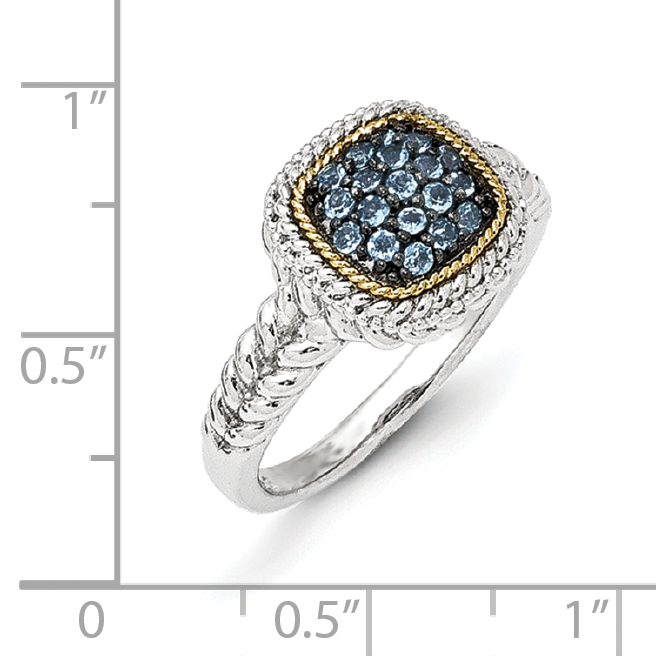 Sterling Silver Two Tone Silver And Gold Plated Sterling Silver w/and Black Rhodium Blue Topaz Ring - image 1 de 3