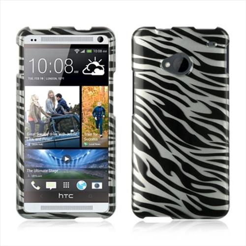 Silver Zebra Design Snap-On Hard Case Cover for HTC One M7