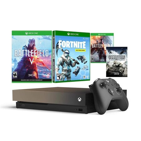Xbox One X 1TB Battlefield V and Fortnite Gold Rush Bundle: Battlefield V Deluxe Edition, Fortnite Frostbite Skin, 1000 V-Bucks with 4K HDR 1TB Xbox One X Gaming Console - Gray