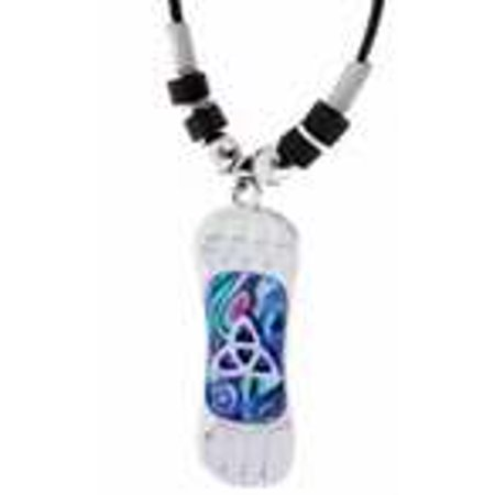 Necklace-Blue Paua Shell Snowboard W/Knots-Adj