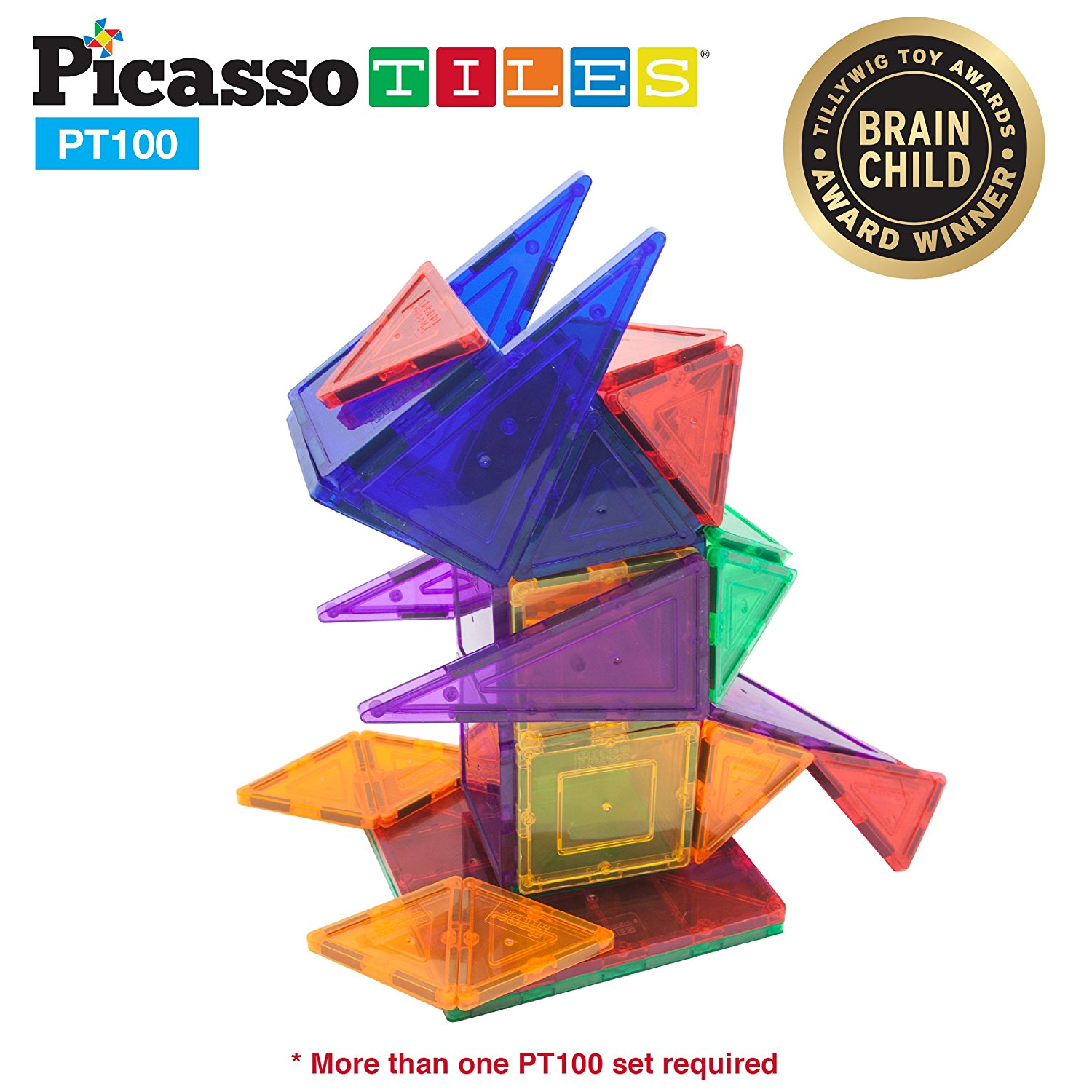 PicassoTiles 100 Piece Set Clear 3D Magnet Building Blocks Tiles