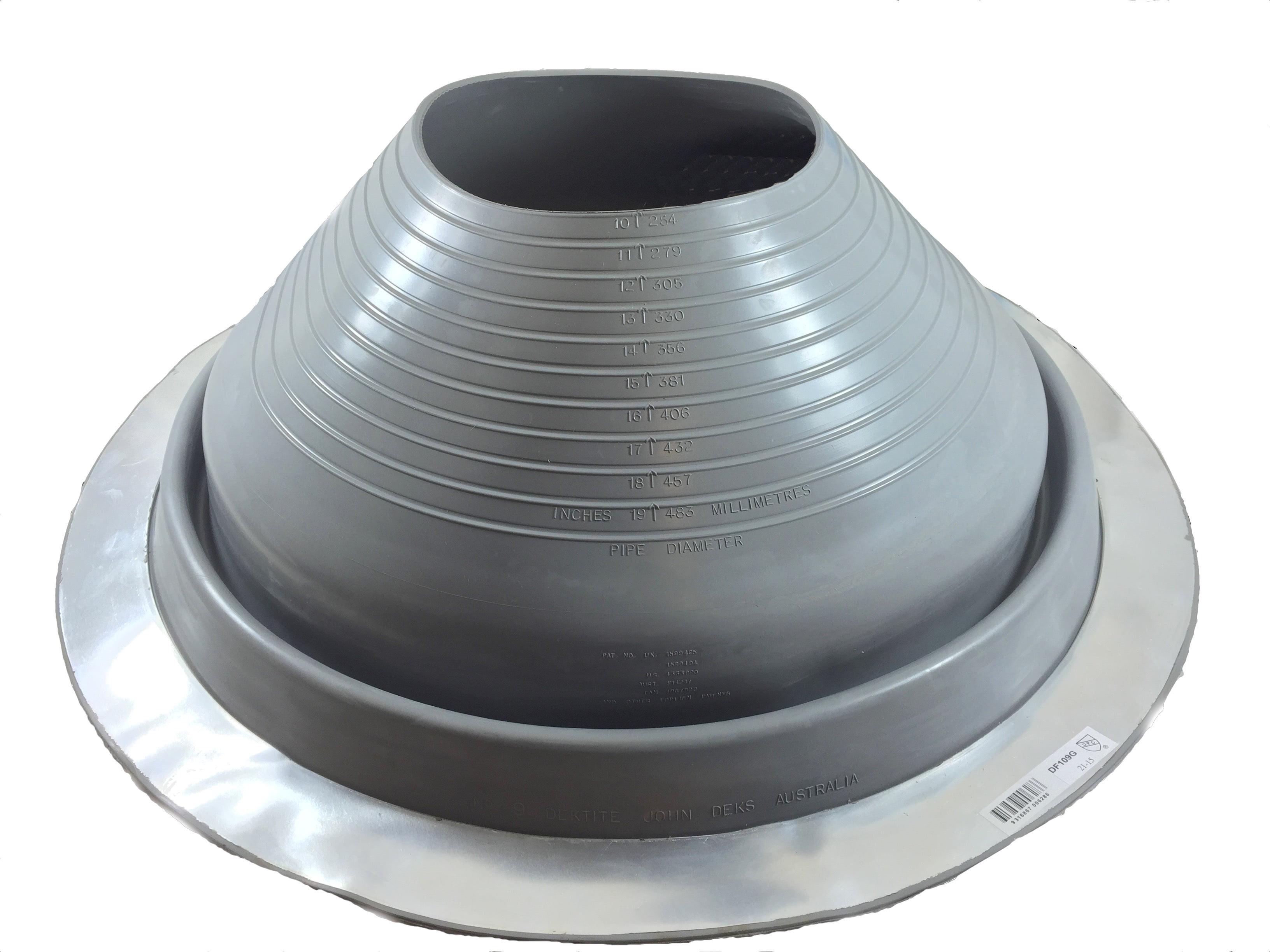 Pipe OD 5 to 9 Dektite Premium #6 Black EPDM Metal Roof Pipe Flashing Square Base