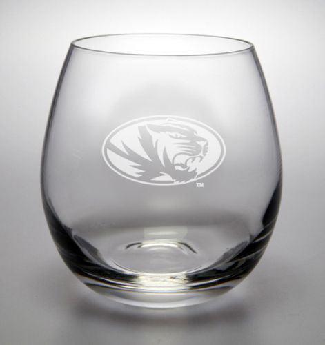 NCAA - Missouri Tigers 11.5 oz Deep Etched Stemless White Wine Glass