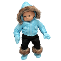 The Queen's Treasures 15 Inch Doll Clothes  Blue Snow Suit Jacket, Pants, Mittens & Boots Compatible for use with  American Girl Bitty Baby & Bitty Twins Dolls