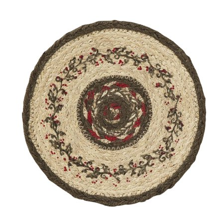 Holly Trivet (Crimson Red Seasonal Decor Holly Berry Jute Stenciled Floral / Flower Round)
