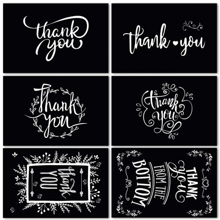 48 Black Thank You Cards of Ohuhu, 6 Designs of Chalkboard Thank You Greeting Card, Bulk Note Cards for Mother