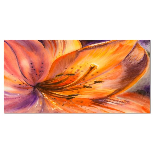 Design Art 'Orange Lily Flower' Painting Print on Wrapped Canvas