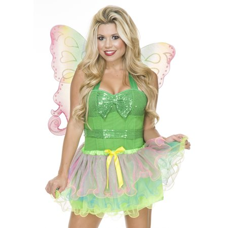 Charades Womens Sexy Rainbow Fairy Halloween Costume Tutu + Wings (Fairy Costume Women)