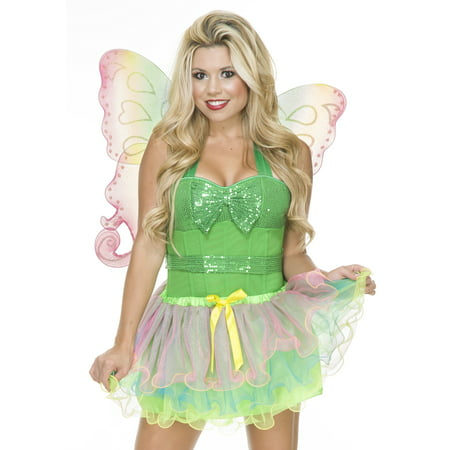 Charades Womens Sexy Rainbow Fairy Halloween Costume Tutu + Wings