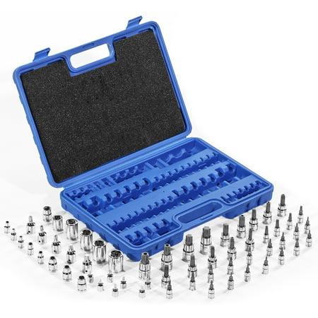 Chrome Vanadium Socket Set (Chrome Vanadium Tamper Proof S2 Star Plus Bit Sockets Tool Set with Case, 60PC)