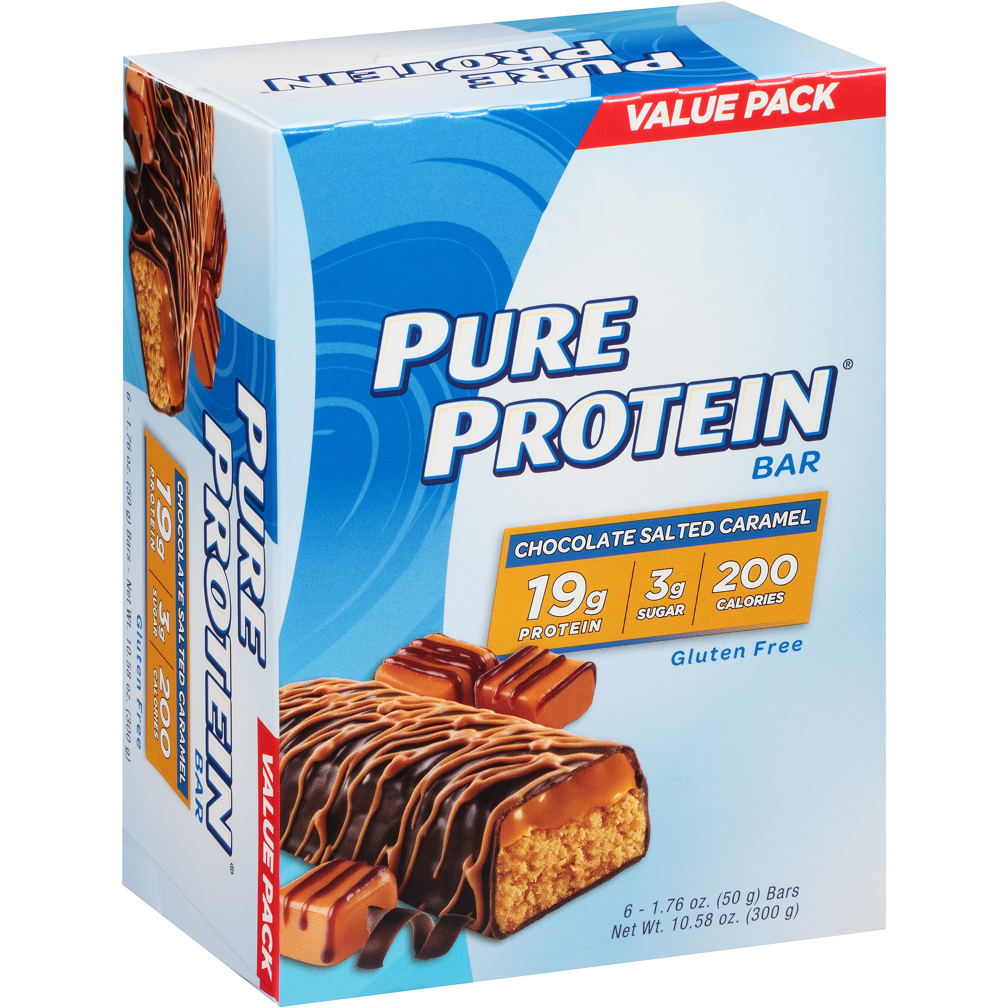Pure Protein Bar, 19 Grams of Protein, Chocolate Salted Caramel, 1.76 Oz, 6 Ct