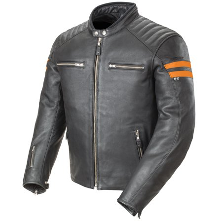 Joe Rocket Racing Leathers (Joe Rocket Classic 92 Mens Black/Orange Leather Motorcycle Jacket )