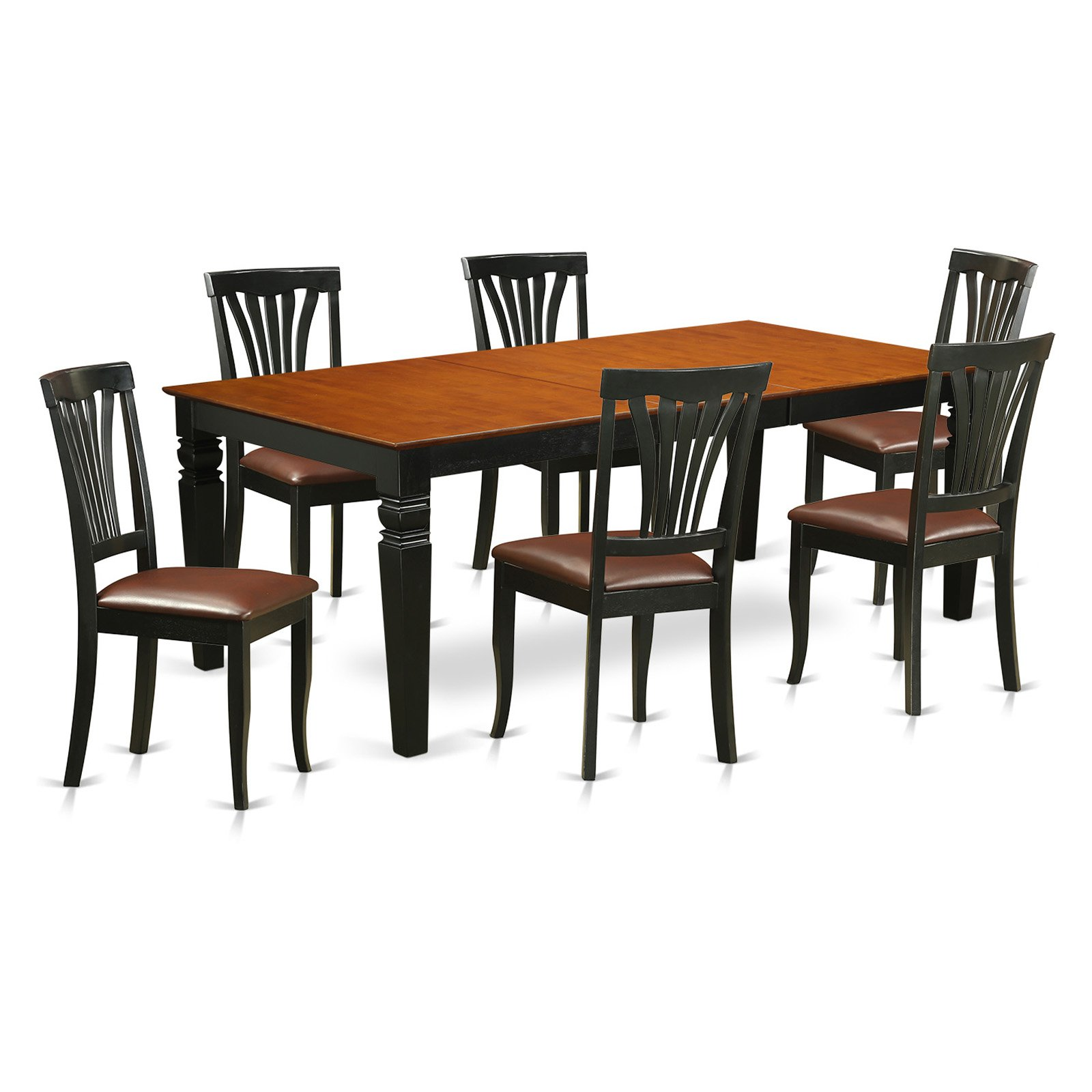East West Furniture Logan 7 Piece Lath Back Dining Table Set