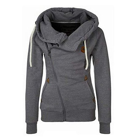Women Spring and Autumn Fashion Oblique Zipper Hoodies Sweatshirt Jacket - Pink Ladies Grease Jacket