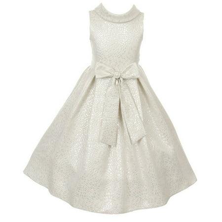 Cinderella Couture Little Girls White Silver Teardrop Jacquard Pearl Dress 2-6