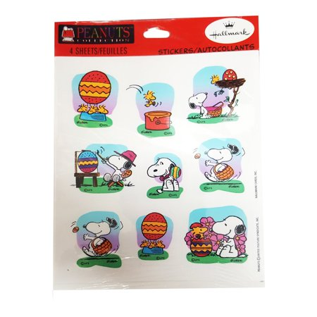 Hallmark Peanuts Snoopy & Woodstock Easter Stickers - Package of 4 - Easter Snoopy