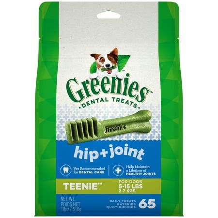 Greenies Hip and Joint Teenie Dental Dog Treats, 18 oz. Pack (65 Treats)