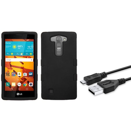 Insten Tuff Hard Hybrid Rubberized Silicone Cover Case For LG Magna/Volt 2 - Black (+ USB Data Sync Charge Cable) - Magna Charge Skylander