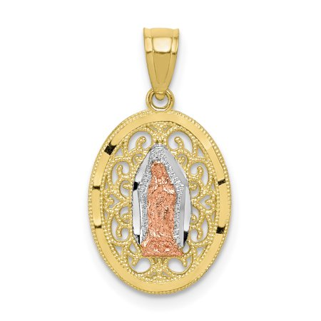 - 10k Two Tone Yellow Gold Our Lady Of Guadalupe Pendant Charm Necklace Religious Medal Gifts For Women For Her