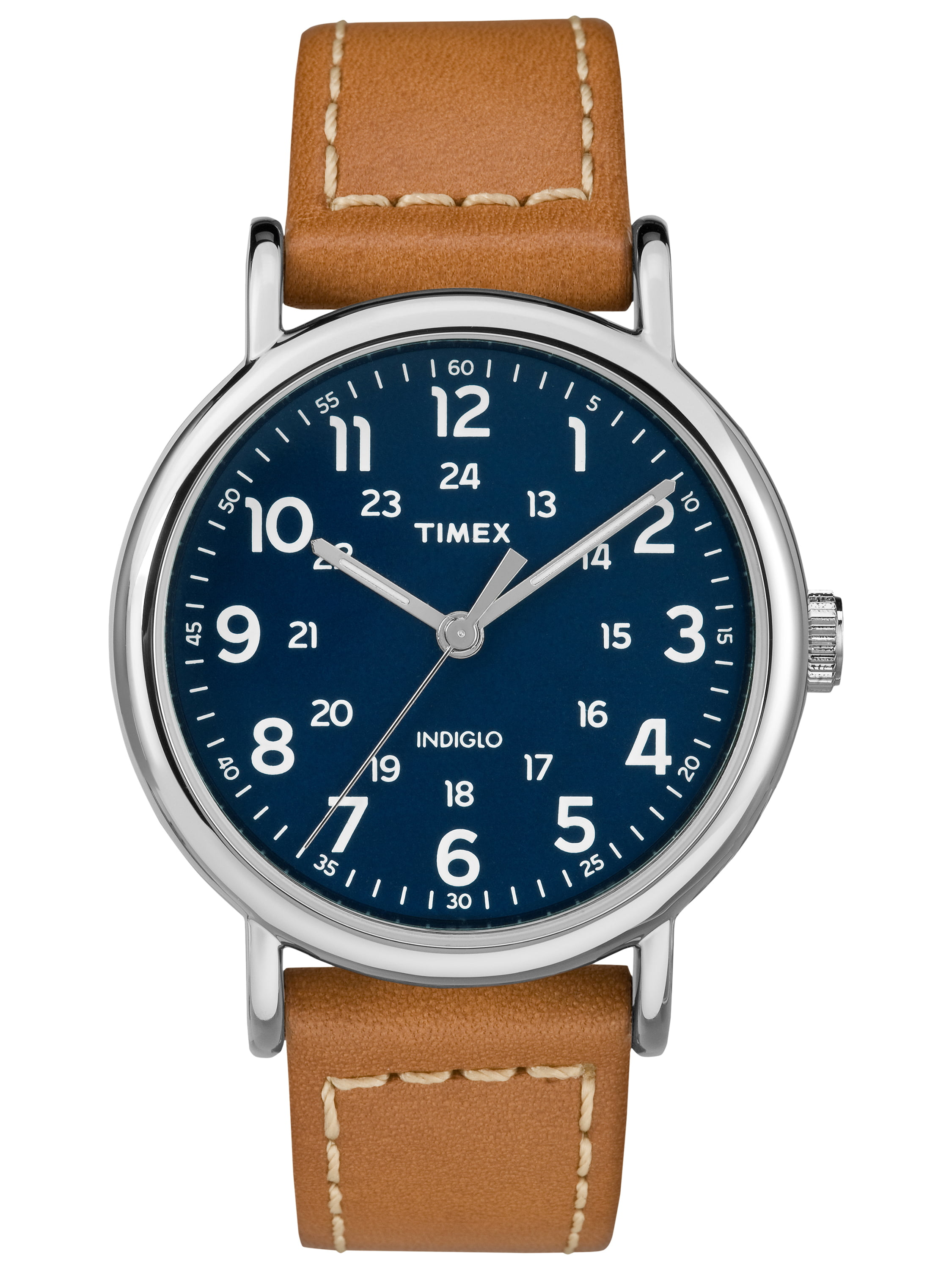 Timex Men's Weekender 40 Brown Blue Watch, Leather Strap by Timex