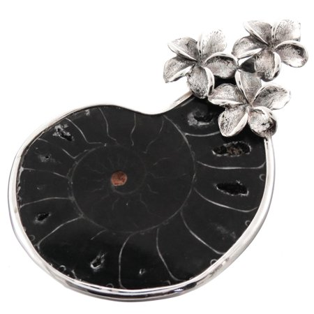 "Ammonite Fossil Plumeria Flower 925 Sterling Silver Pendant, 2"""