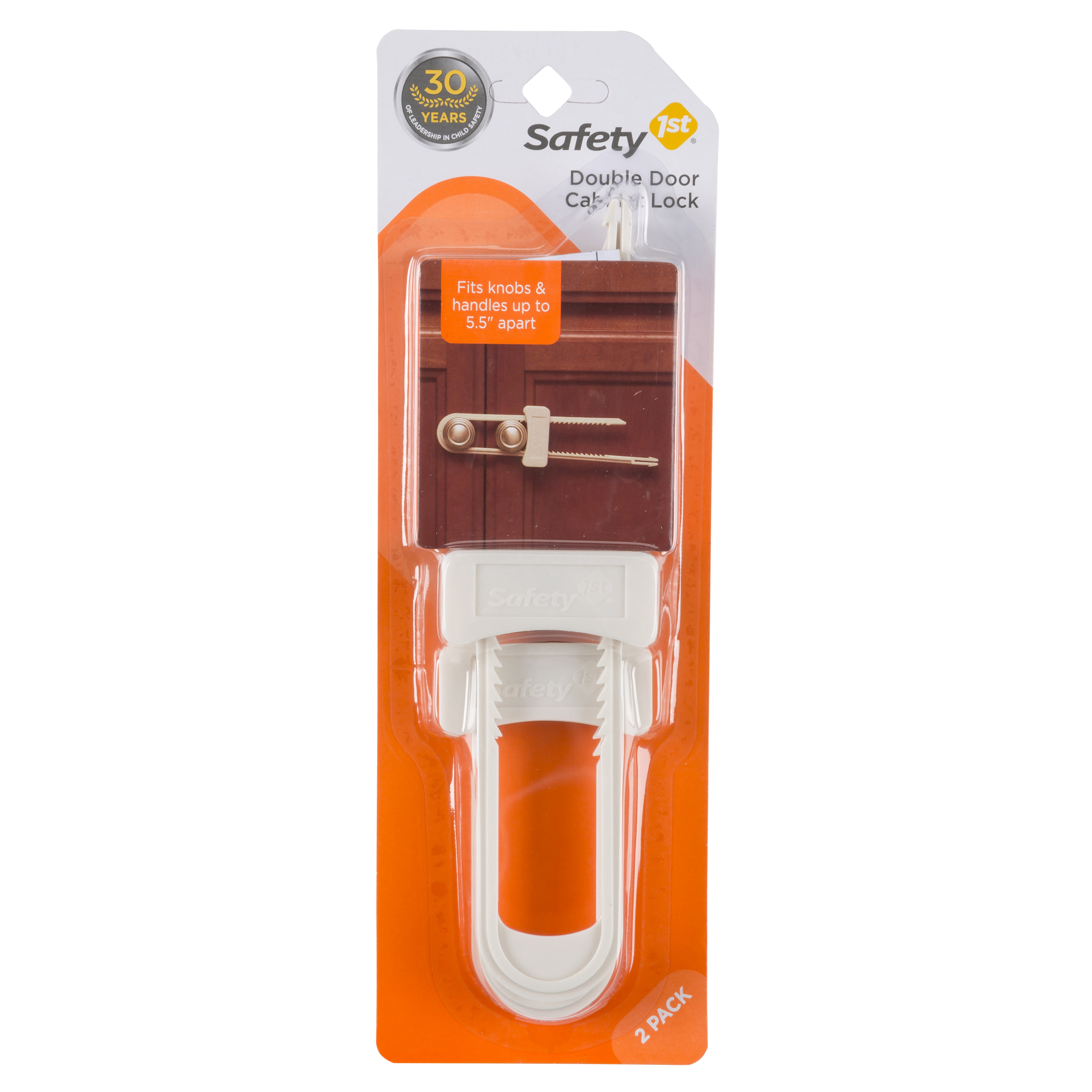 Safety 1st Double Door Baby-Proofing Cabinet Lock (2pk), White
