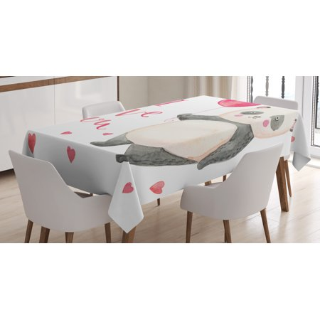 I Love You Tablecloth, Cute Panda Bear Holding A Balloon Hearts Playroom Baby Watercolor Art, Rectangular Table Cover for Dining Room Kitchen, 60 X 90 Inches, Dark Coral Ivory Gray, by Ambesonne for $<!---->