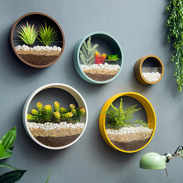 Wall Mounted Planter Wall Hanging Planters Metal Plant Terrarium For Indoor Planter Faux Flower Air Plant Holders Decorative Morden Circle Iron Vase For Succulent Wall Decor 1 Piece Walmart Com Walmart Com