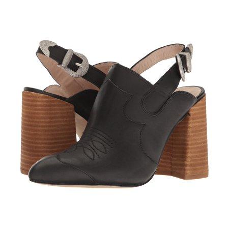 Shellys London Donna Black leather Pointed Toe Slingback Mule - London Hunter Black Leather