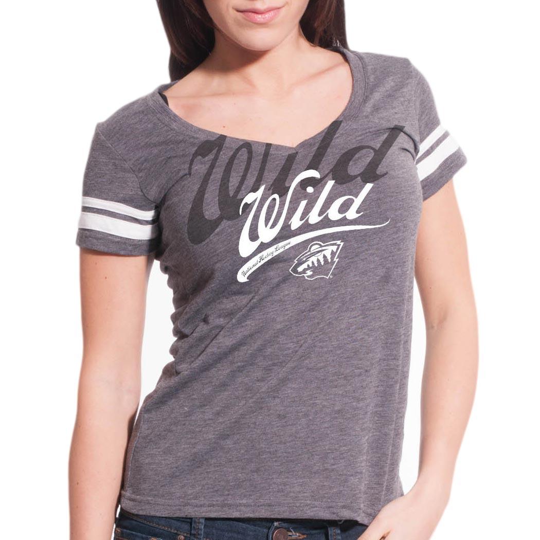 Minnesota Wild Women s Double Take Script V FX T-Shirt - Levelwear 708610a5e7