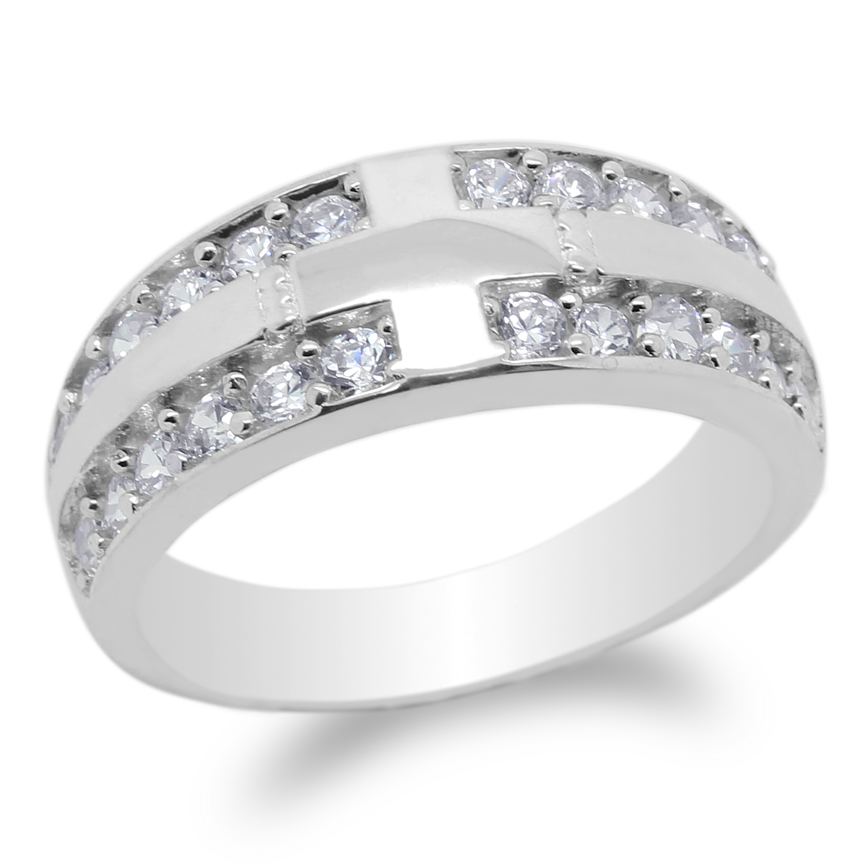 JamesJenny Mens  925 Sterling Silver Round CZ Wedding  Band Ring Size 8-12