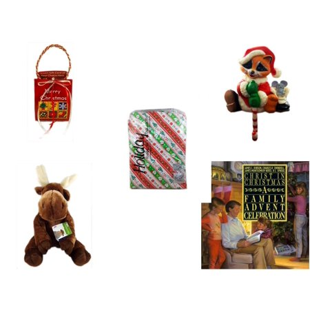 Christmas Fun Gift Bundle [5 Piece] - Musical Gift Card Holder - Raccoon Santa Small Stocking Hanger -  Flannel back Tablecloth 52