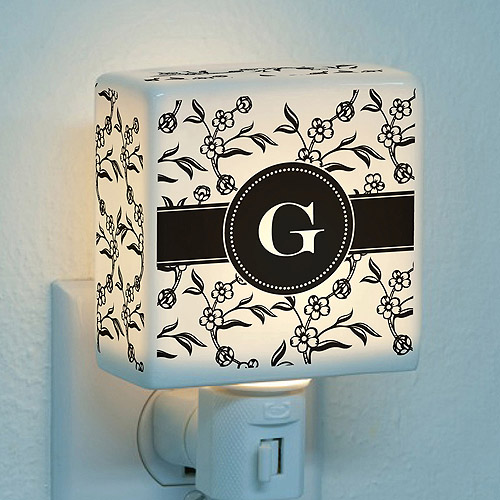 Personalized Floral Initial Night Light