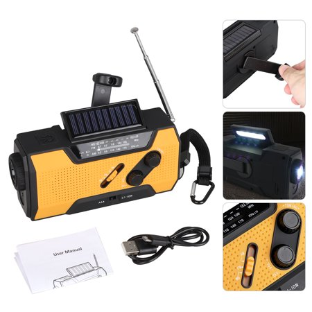 TSV Emergency Weather Solar Crank AM/FM NOAA Radio with Portable 2000mAh Power Bank, Bright Flashlight and Reading Lamp for Household Emergency and Outdoor Survival
