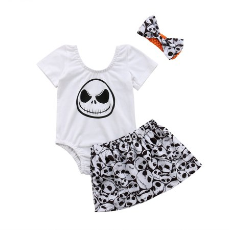 3PCS Toddler Baby Girl Clothes Halloween Skull Tops+Pants+Headband Clothes (Baby Clothes Halloween)