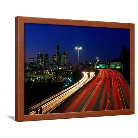 I-5 Traffic with Car Streaks, Seattle, WA Framed Print Wall Art By Jim  Corwin - Walmart com