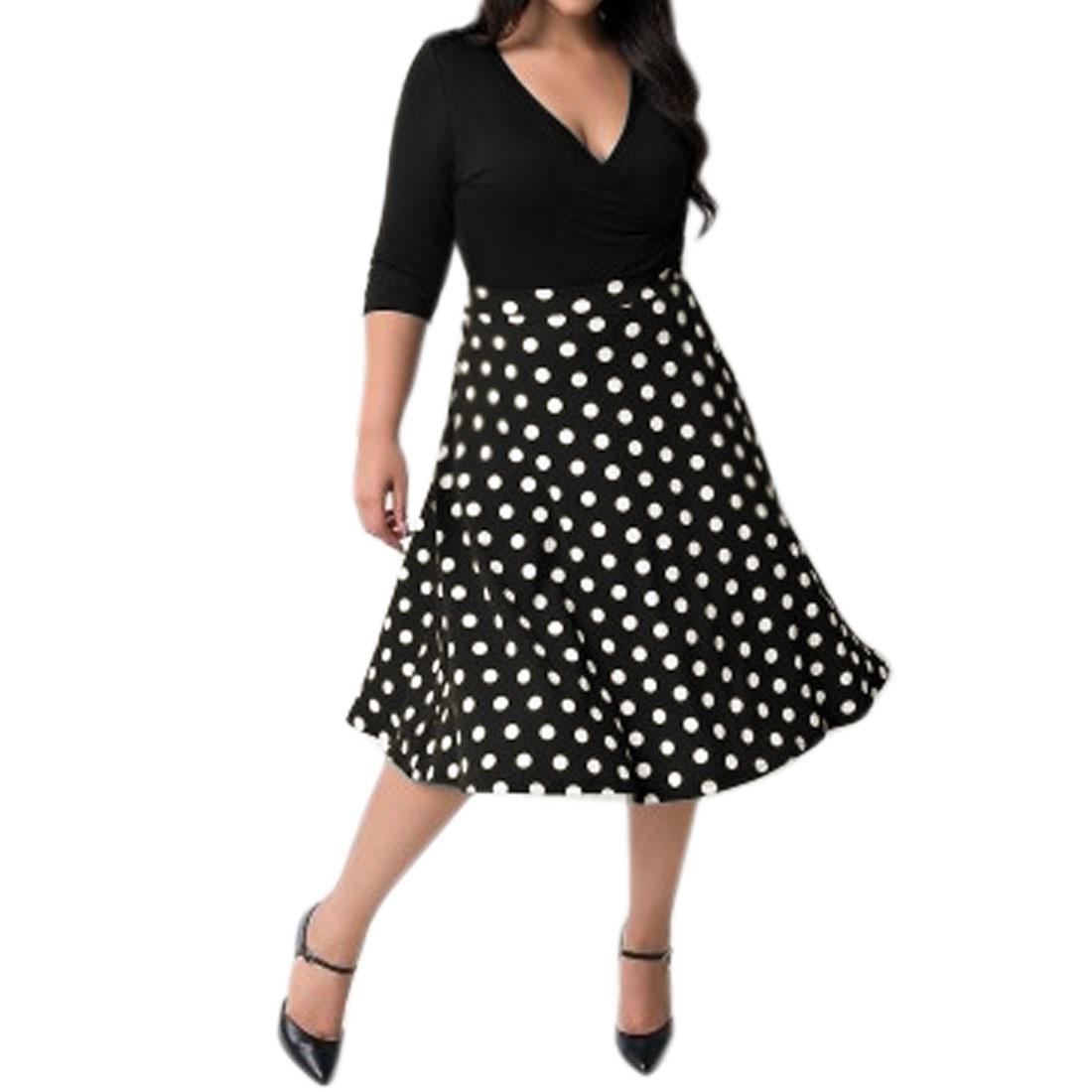 Lady Crossover V Neck 3/4 Sleeves Dots Paneled A Line Dress Black XL