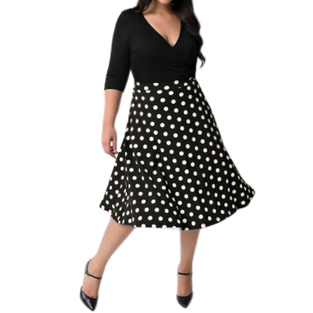 Lady Crossover V Neck 3/4 Sleeves Dots Paneled A Line Dress Black XL