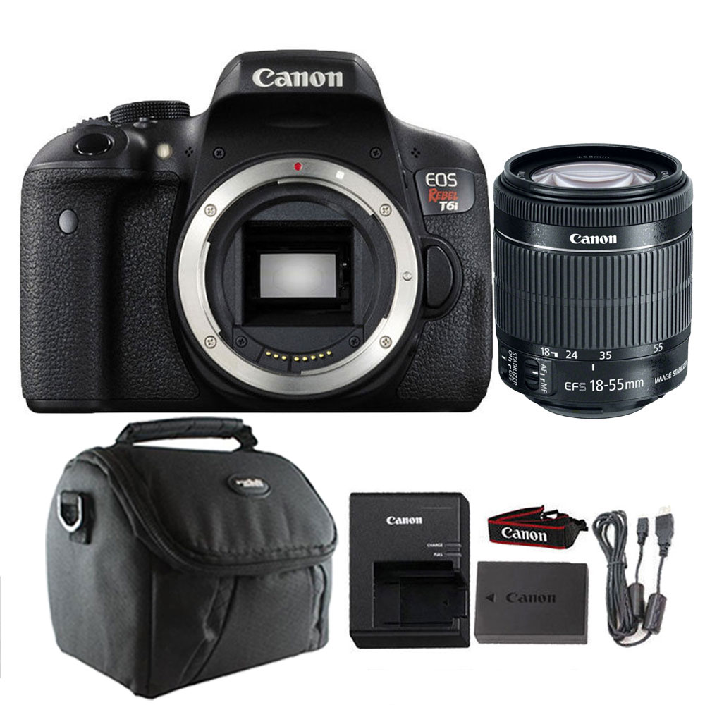 Canon EOS T6i DSLR Camera with Canon EF-S 18-55mm IS STM Lens Case