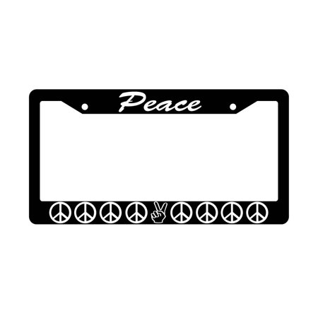 Peace Fingers Black Plastic License Plate (Black Peace Fingers)