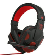 Gaming Headset Headphone for PC Laptop with Microphone with USB 3.5mm Interface LED Volume Control Over-ear Headphone