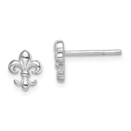 925 Sterling Silver Fleur De Lis Post Stud Earrings Ball Button Gifts For Women For Her ()