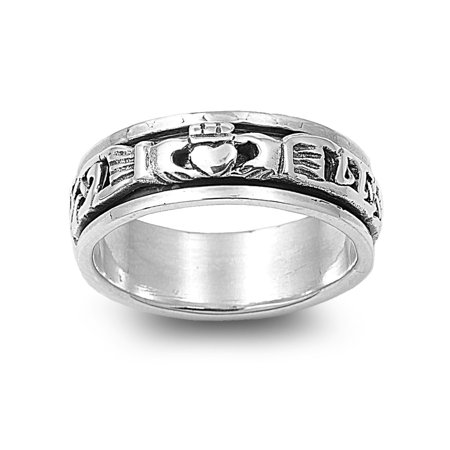 925 Sterling Silver Blessing of the Claddagh Spinner Ring Size 4 ()