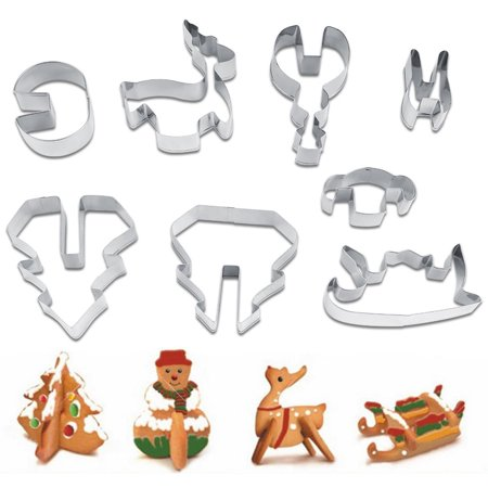zerone 8pcs christmas stainless steel food graded cookie mold biscuit cutters christmas baking decor tool - Christmas Cookie Cutters Walmart