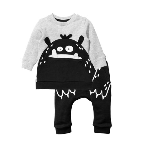Baby Tracksuit (2PCS Toddler Baby Boy Girl Clothes Sweatshirt Tops T-shirt+Long Pants Infant Outfits Tracksuits 0-6 Months )
