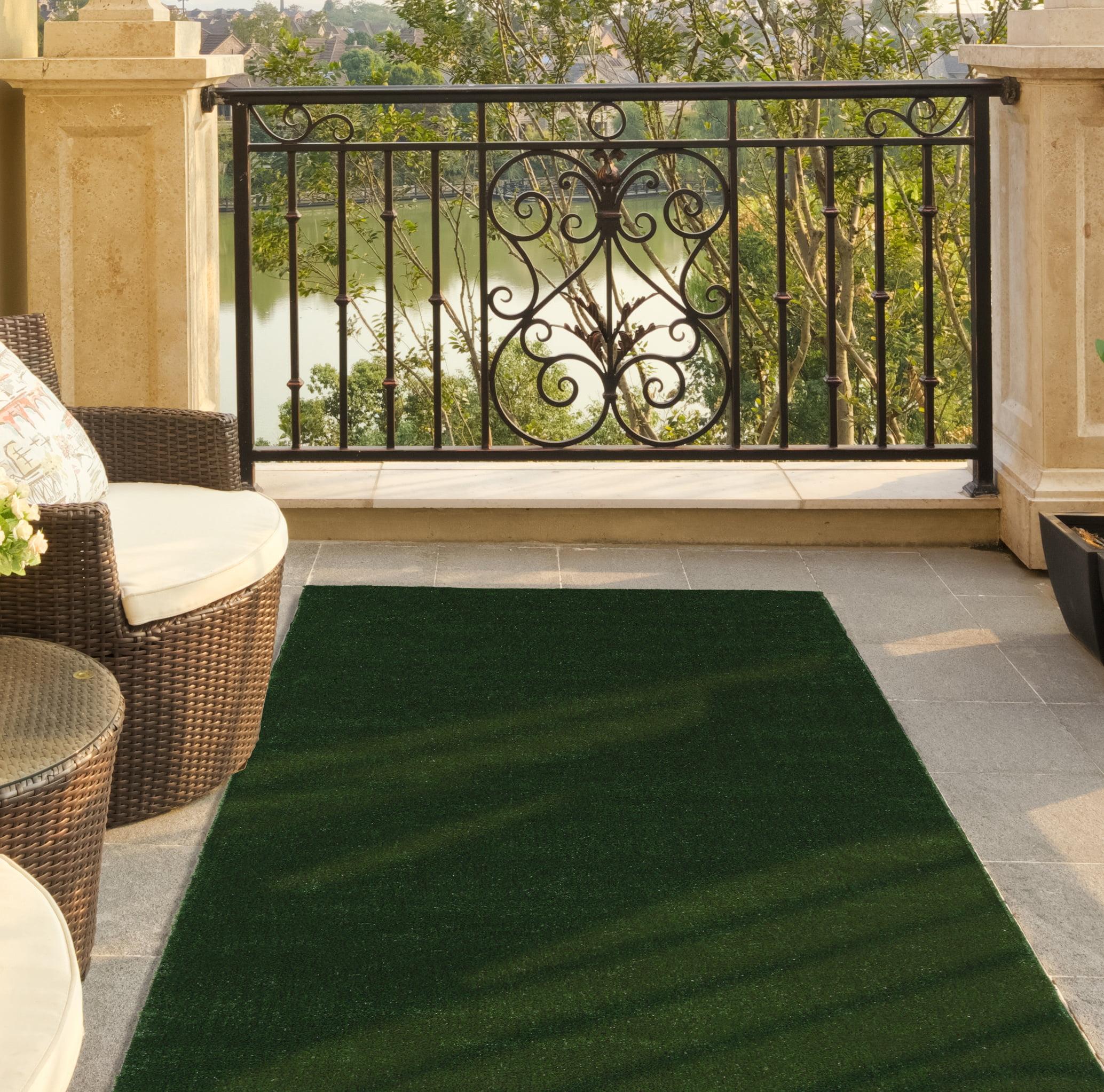 "Ottomanson Evergreen Collection Indoor/Outdoor Green Artificial Grass Turf Solid Design Runner Rug, 6'0"" x 7'3"""
